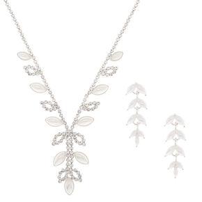 Parure de bijoux feuille avec perle d'imitation couleur argenté, lot de 2 articles,
