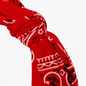 Bandana Knotted Bow Headband - Red,