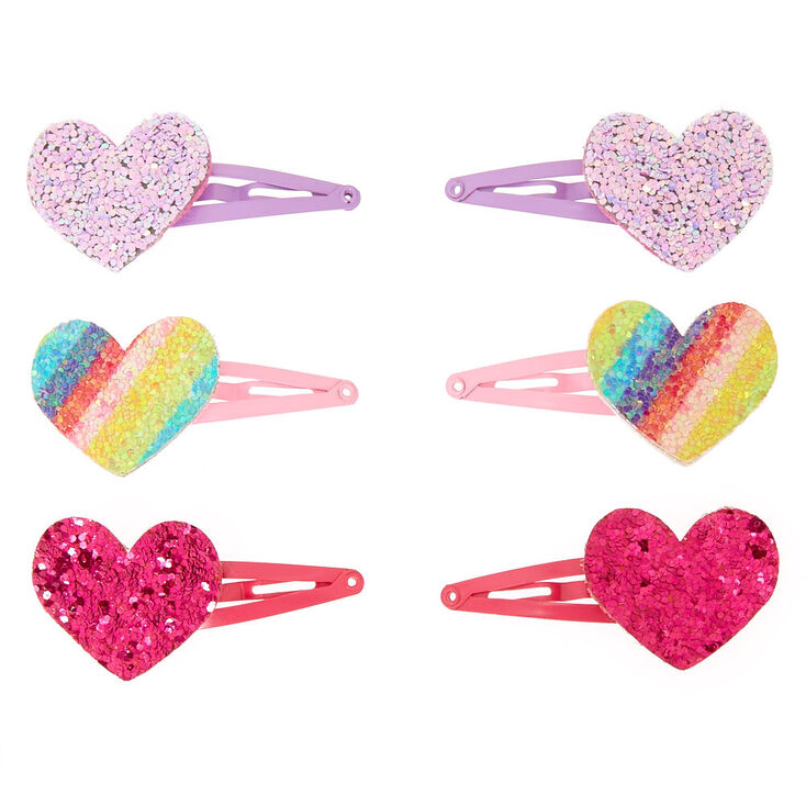 Claire's Club Glitter Heart Snap Hair Clips - 6 Pack,