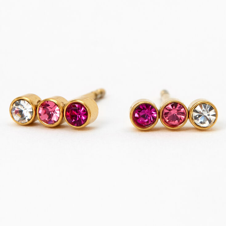 Gold Titanium Ombre Bar Stud Earrings - Pink,