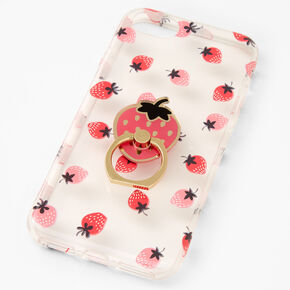 Strawberry Ring Holder Protective Phone Case - Fits iPhone 6/7/8/SE,