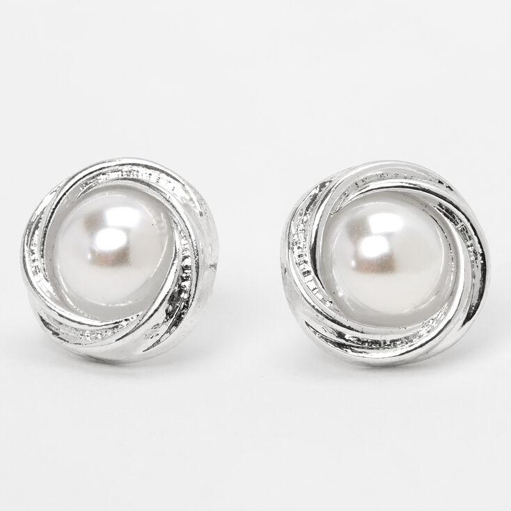 Silver Pearl Knot Stud Earrings,