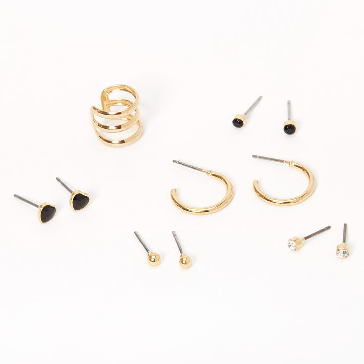 Gold Ball Heart Ear Cuff & Mixed Earrings - Black, 6 Pack,
