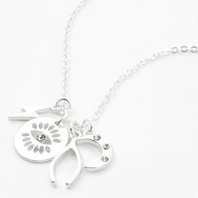 Silver Mystical Symbols Pendant Necklace,