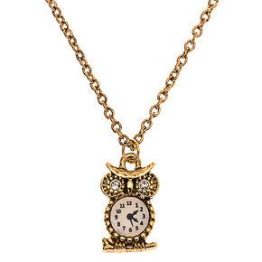 Gold Owl Clock Pendant Necklace,