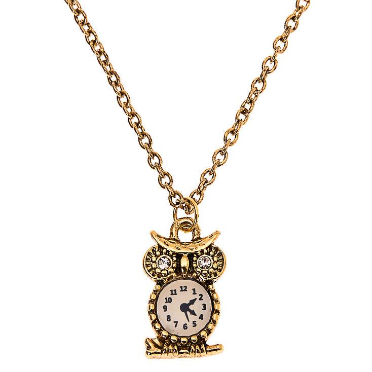Gold Owl Clock Pendant Necklace