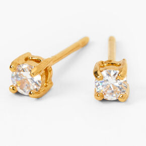 18kt Gold Plated Cubic Zirconia Basket Stud Earrings - 3MM,