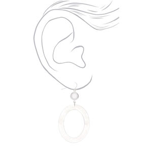 "Silver 2.5"" Oval Resin Drop Earrings - White,"