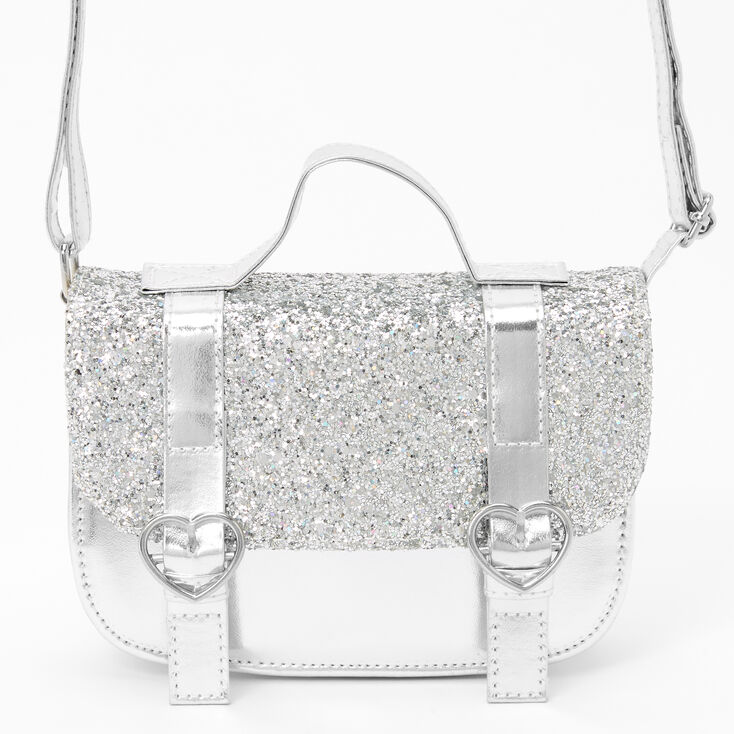 Claire's Club Glittery Crossbody Messenger Bag - Silver,