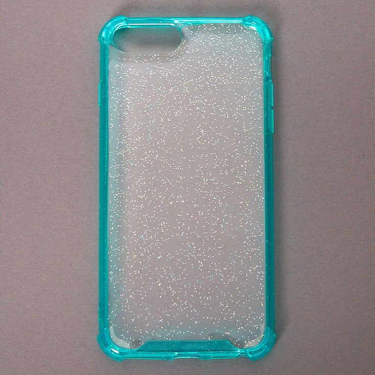 Clear Mint Glitter Protective Phone Case - Fits iPhone 6/7/8 Plus,
