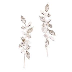 Silver Embellished Vine Leaf Ear Crawlers,