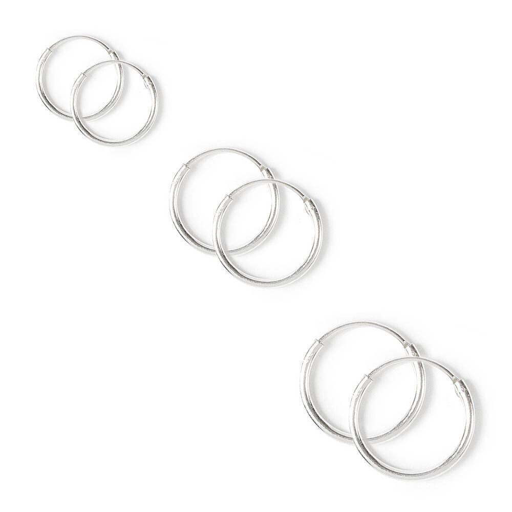 Claires Girls Sterling Silver Graduated Hoop Earrings 3 Pack