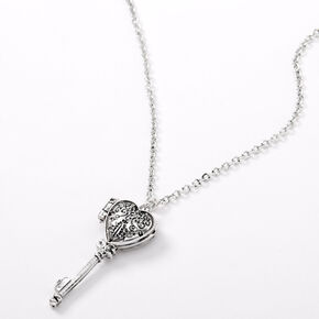 Silver Heart Key Locket Pendant Necklace,