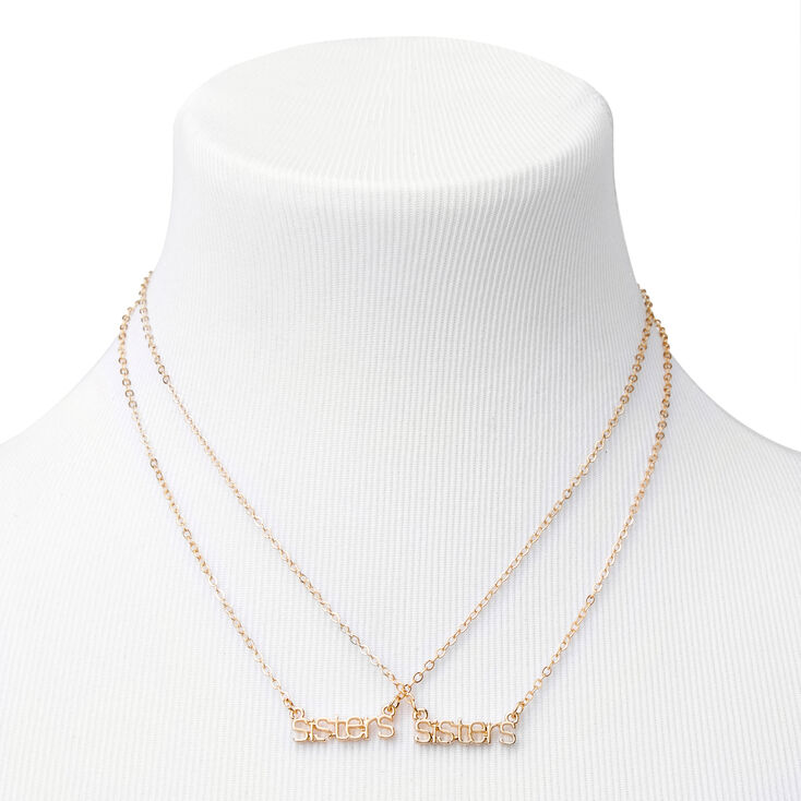 Gold Sisters Word Pendant Necklaces - 2 Pack,