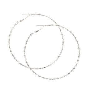 Silver 70MM Textured Hoop Earrings,