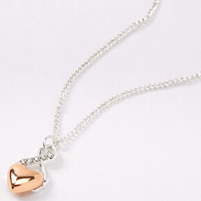 Silver Gold Heart Infinity Pendant Necklace,
