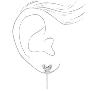 Silver Butterfly Front and Back Chain Stud Earrings,