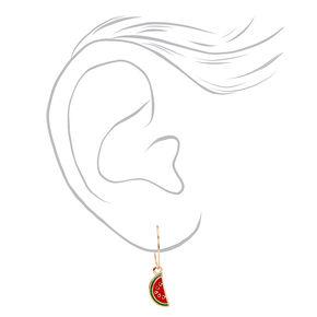 Créoles et clous d'oreilles fruits aux designs variés couleur dorée - Rouge, lot de 6,
