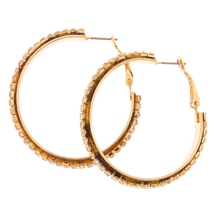 40mm Faux Crystal Lined Gold Tone Hoop Earrings