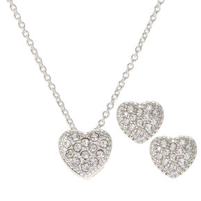 Silver Crystal Heart Jewelry Set - 2 Pack,