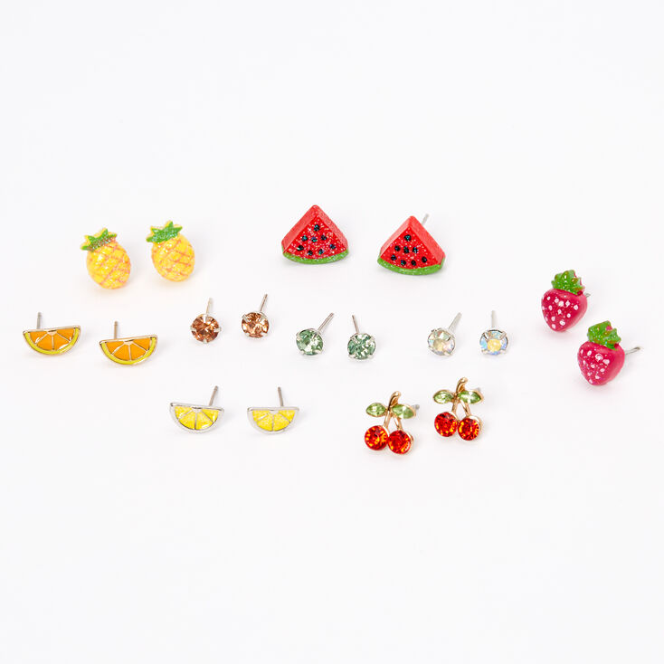 Silver Mixed Fruit and Crystal Stud Earrings - 9 Pack,