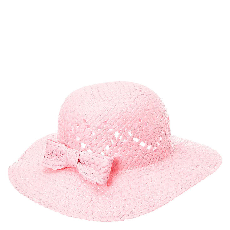 Kids Pink Woven Straw Floppy Hat with Bow  f54449e282a