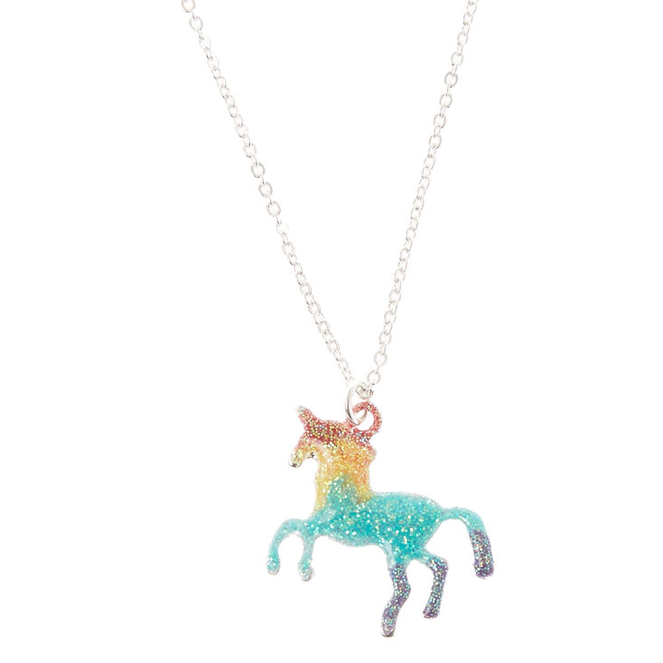Glitter Rainbow Unicorn Pendant Necklace,