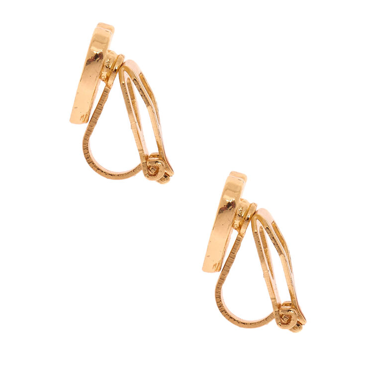 Gold Glitter Heart Clip On Earrings,