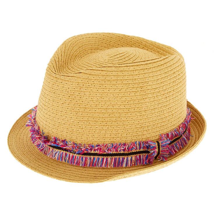 67e6c4d39dce16 Rainbow Fringe Fedora Hat | Claire's