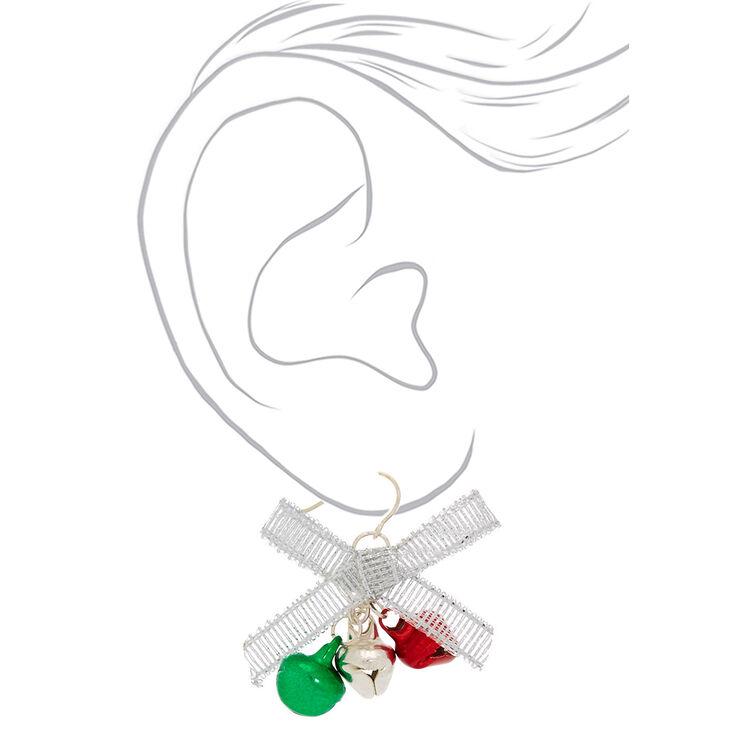 """Silver 1"""" Bells Drop Earrings,"""