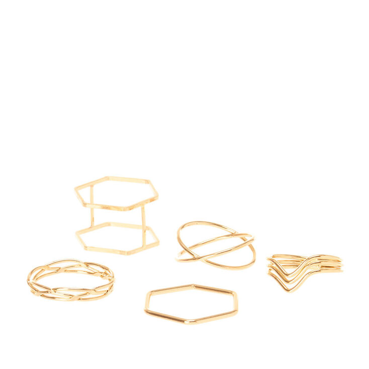 Gold Mixed Geometric Rings - 5 Pack,