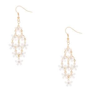 """Gold 2.5"""" Flower Chandelier Drop Earrings - White,"""