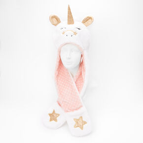 Claire's Club Faux Fur Hooded Unicorn Scarf - White,