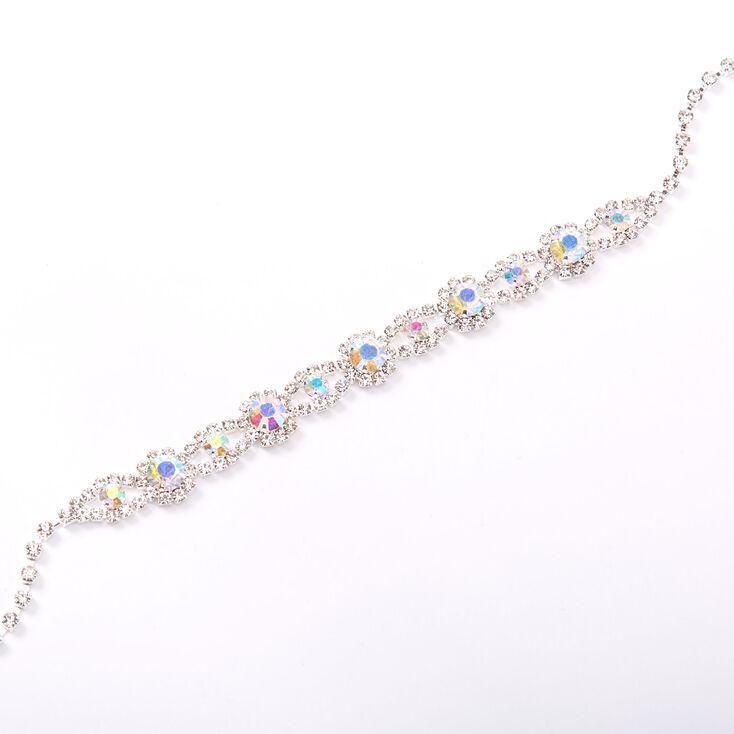 Silver Aurora Borealis Rhinestone Choker Necklace,