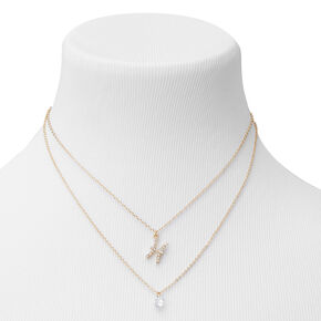 Gold Cubic Zirconia Zodiac Multi Strand Necklace - Pisces,