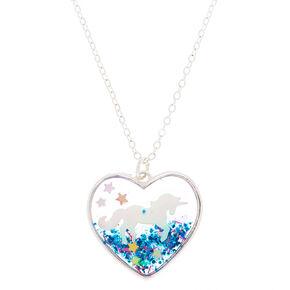 23ff25e1084 Collier à pendentif cœur globe licorne arc-en-ciel couleur argenté