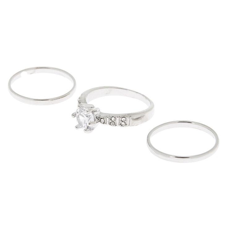 Silver Sleek & Embellished Rings - 3 Pack,