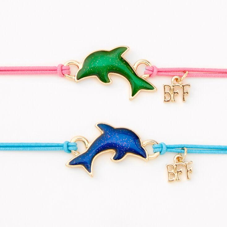 Bracelets d'humeur en cordon réglable dauphin Best Friends - Lot de 2,
