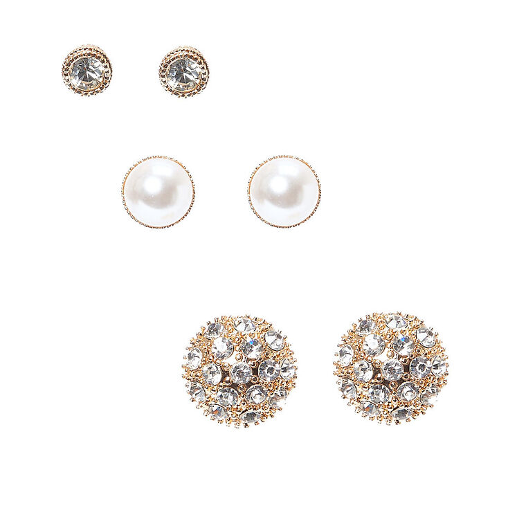 Gold-tone Dome Stud Earrings 3 Pack,