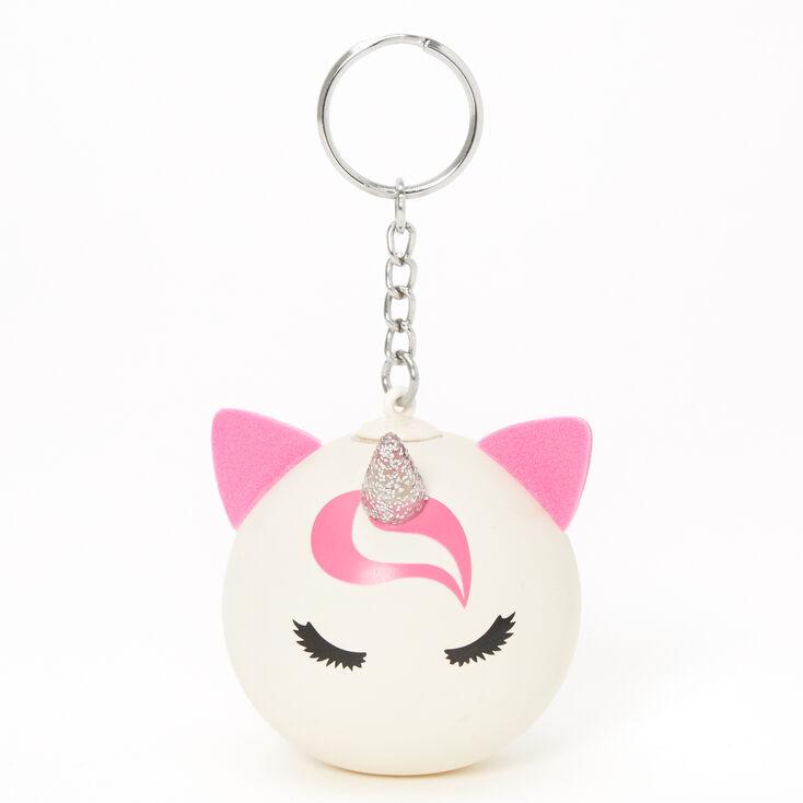 Pink & White Unicorn Stress Ball Keychain,