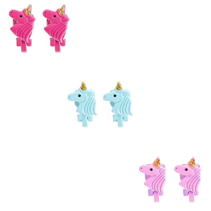 Multi-Color Unicorn Clip On Stud Earrings,