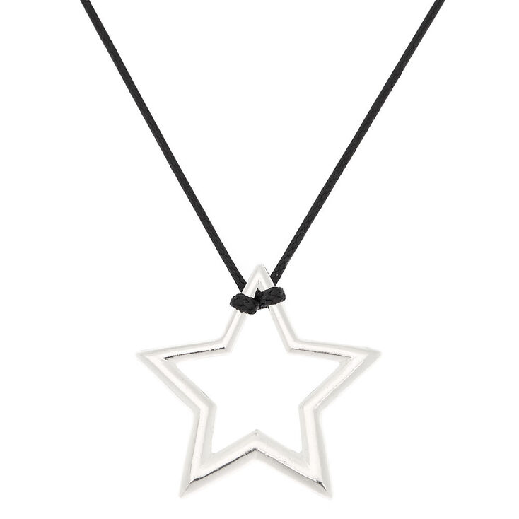 Silver star long pendant necklace claires us silver star long pendant necklace aloadofball Images