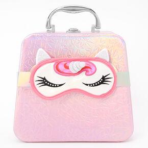 Palette compacte de maquillage et trousse de voyage holographique - Licorne rose,