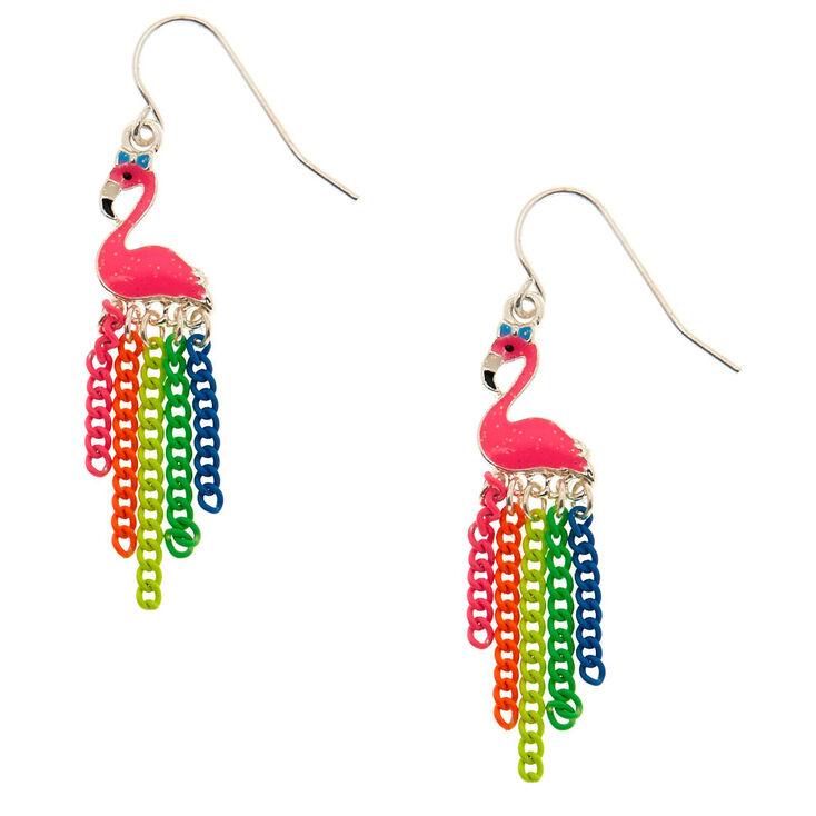 Rainbow Chain Flamingo Drop Earrings,
