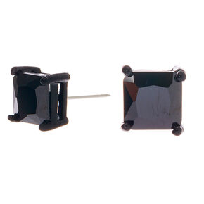Black Cubic Zirconia Square Stud Earrings - 7MM,