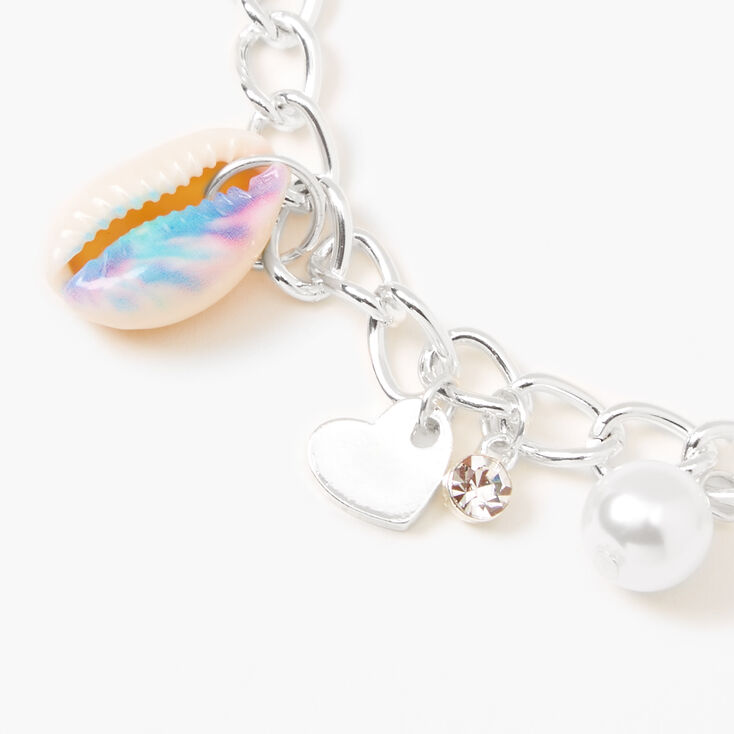 Silver Tie Dye Cowrie Shell Charm Bracelet - Blue,