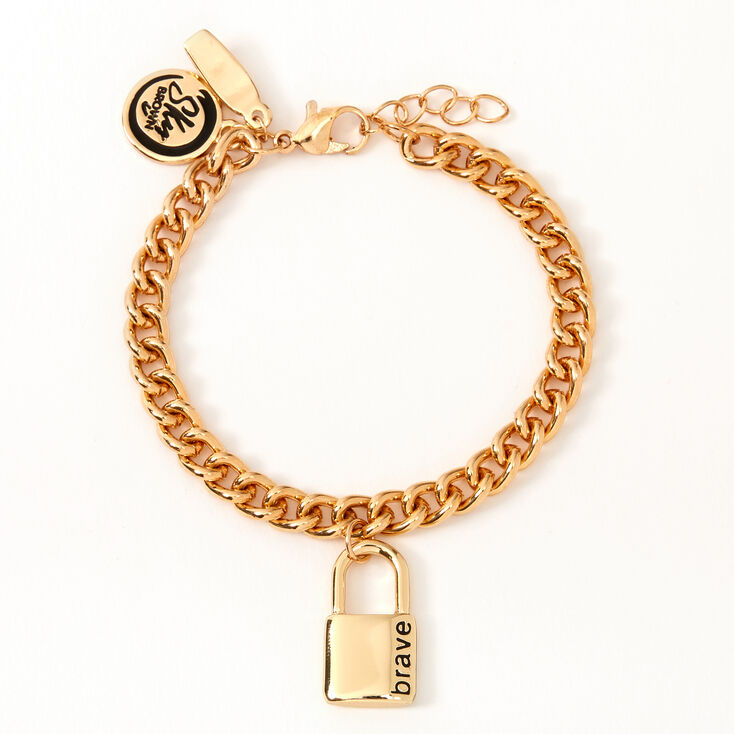 Sky Brown™ Padlock Chain Bracelet – Gold-tone,
