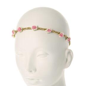 Pink Paper Rosettes Faux Suede Headwrap,