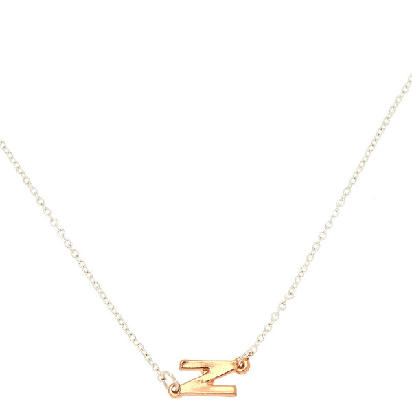 Claire's - mixed metal sideways initial pendant necklace - 1