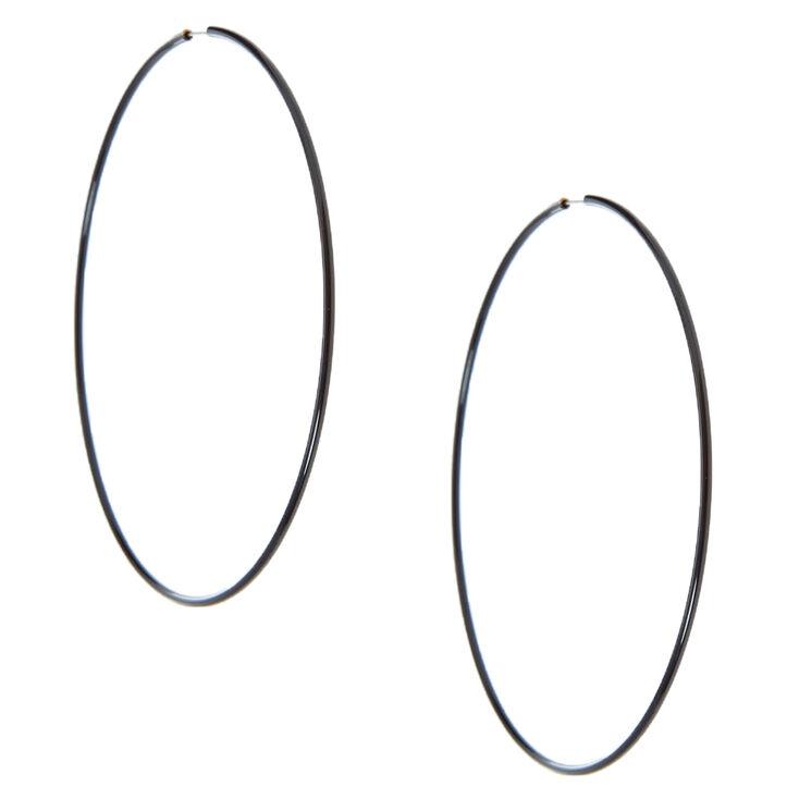 Black 100MM Hoop Earrings,